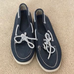 Never worn - navy Sperry boat shoes w/ white laces